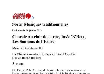 20130120 - Ouest France - Fest-deiz Enfants du Rwanda