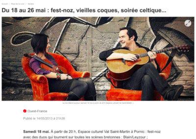 20130514 - Ouest France web - Gouel Erwan St Brévin
