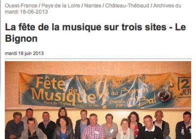 20130618 - Ouest France web - Fête de la musique Bignon