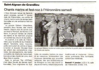 20140110 - Ouest France - Soirée bretonne à l'Héronnière
