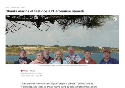 20140110 - Ouest France web - Soirée bretonne à l'Héronnière