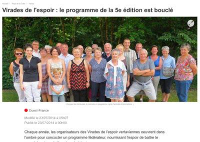 20140723 - Ouest France web - Virades de l'espoir