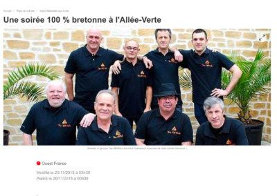 20151120 - Ouest-France web - Soirée 100% bretonne à l'Allée-Verte