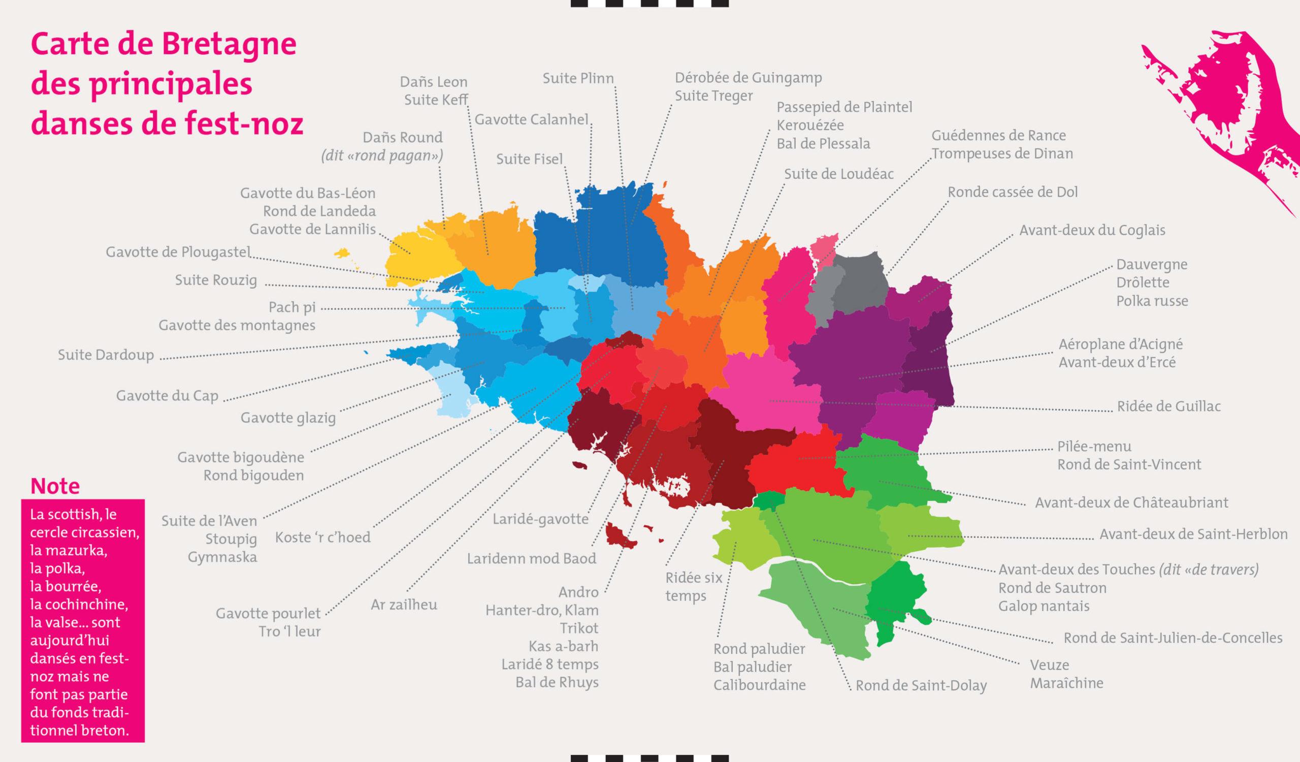 Carte de Bretagne des principales danses de fest-noz